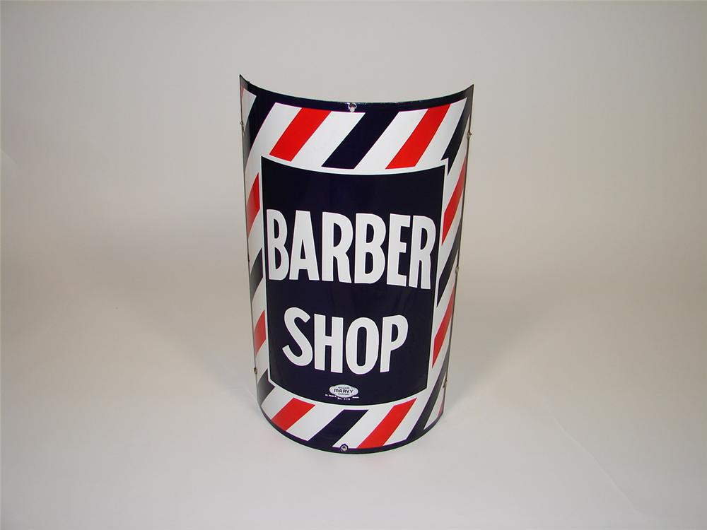 Exquisite 1930s-40s Barbershop curved porcelain sign. - Front 3/4 - 79487