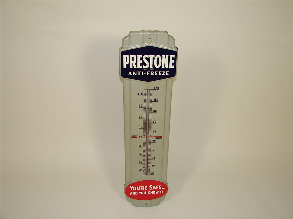 1950s Prestone Anti-Freeze porcelain station thermometer. - Front 3/4 - 79495