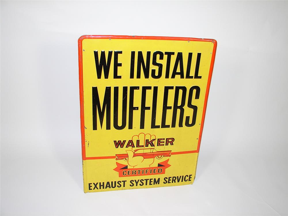 Late 50s-early 1960s Walker Mufflers single-sided tin garage sign. - Front 3/4 - 79498