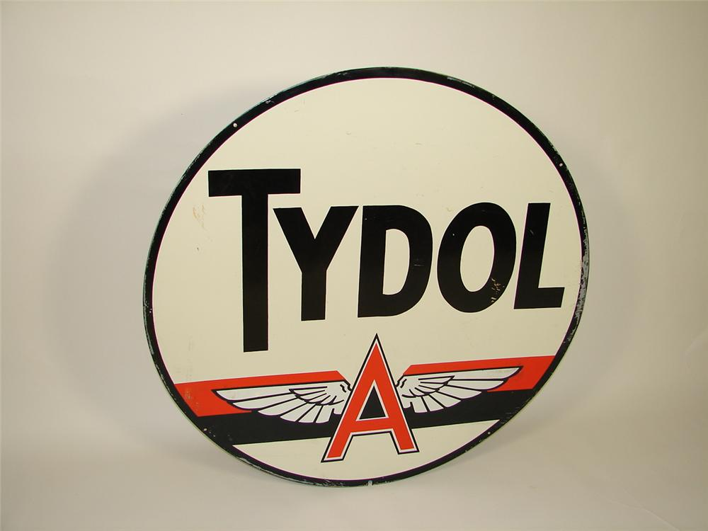 Large 1940s-50s Tydol Flying A Gasoline double-sided tin painted service station sign. - Front 3/4 - 79500