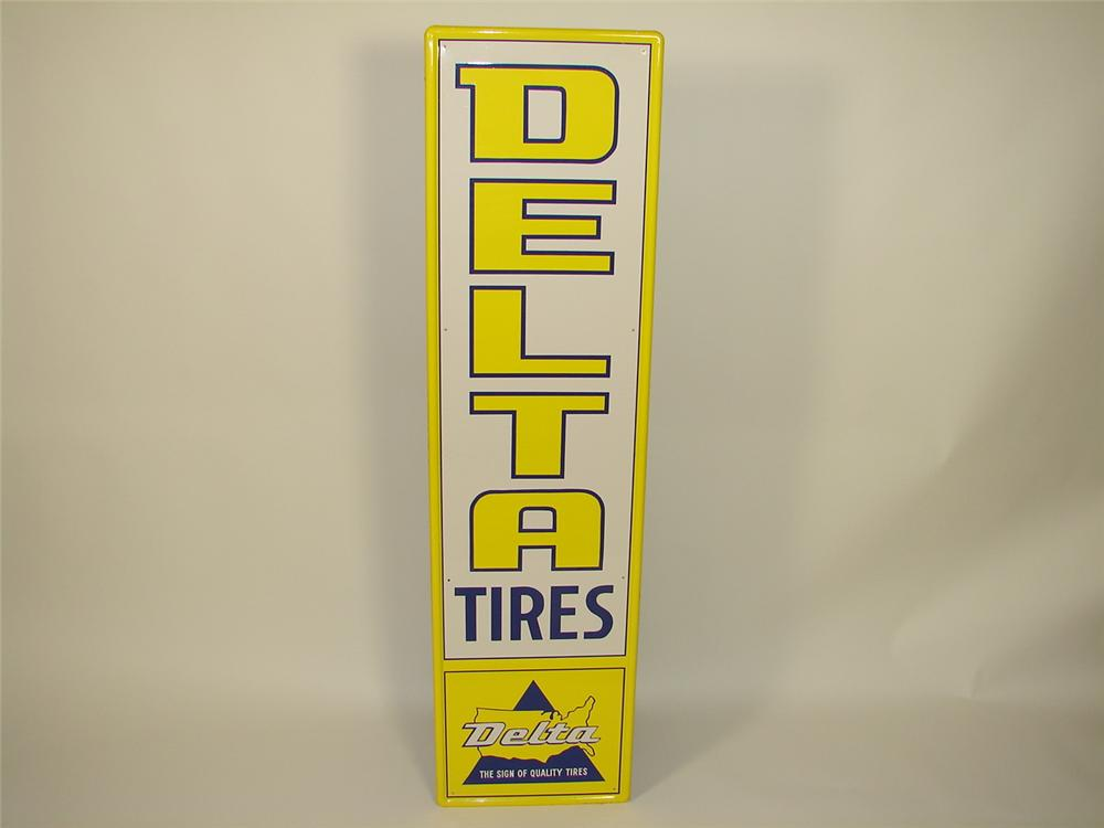 N.O.S. 1960s Delta Tires tin painted vertical garage sign. - Front 3/4 - 79511