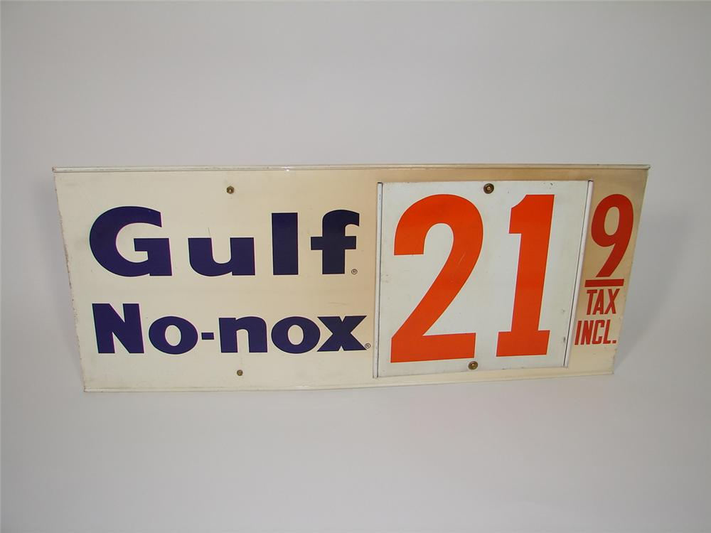 Interesting 1960s Gulf No-Nox double-sided tin metal fuel island price sign. - Front 3/4 - 79512