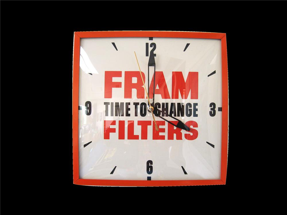 "1960s Fram Filters ""Time to Change"" glass faced service station clock. - Front 3/4 - 79541"