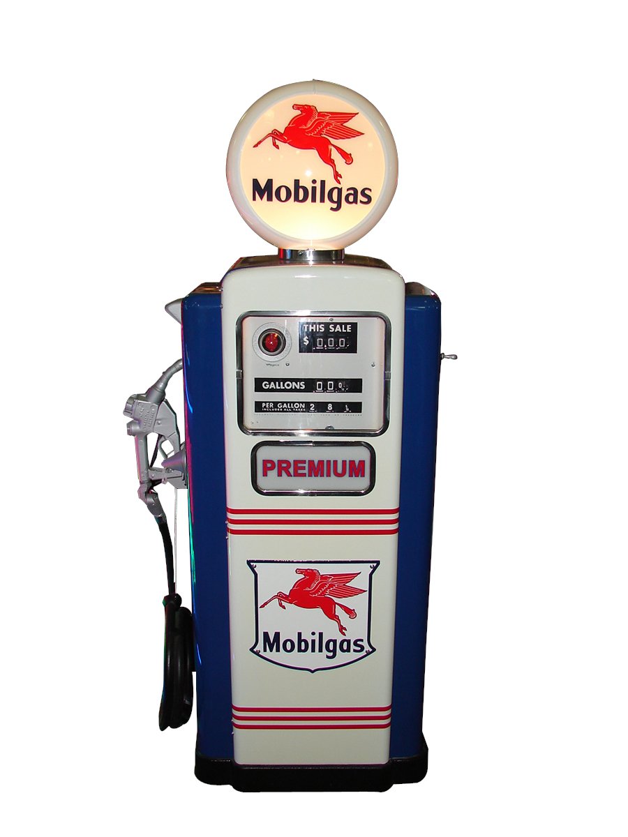 Immaculate 1950s Mobil Gasoline Service Station Wayne model #100 gas pump. - Front 3/4 - 79549