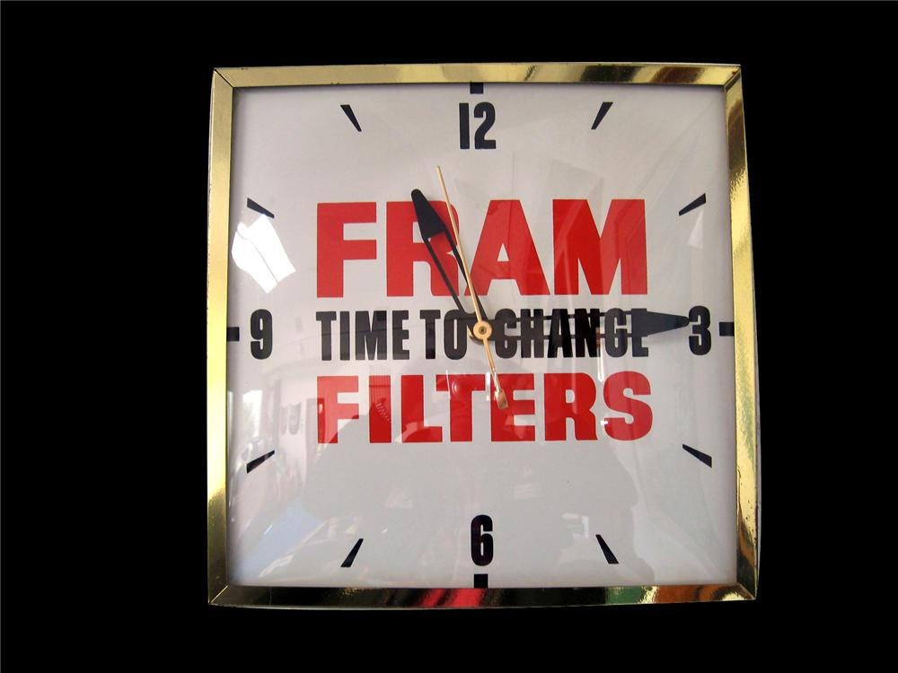 "Late 50s-60s Fram Filters ""Time to Change"" glass faced garage clock. - Front 3/4 - 79550"