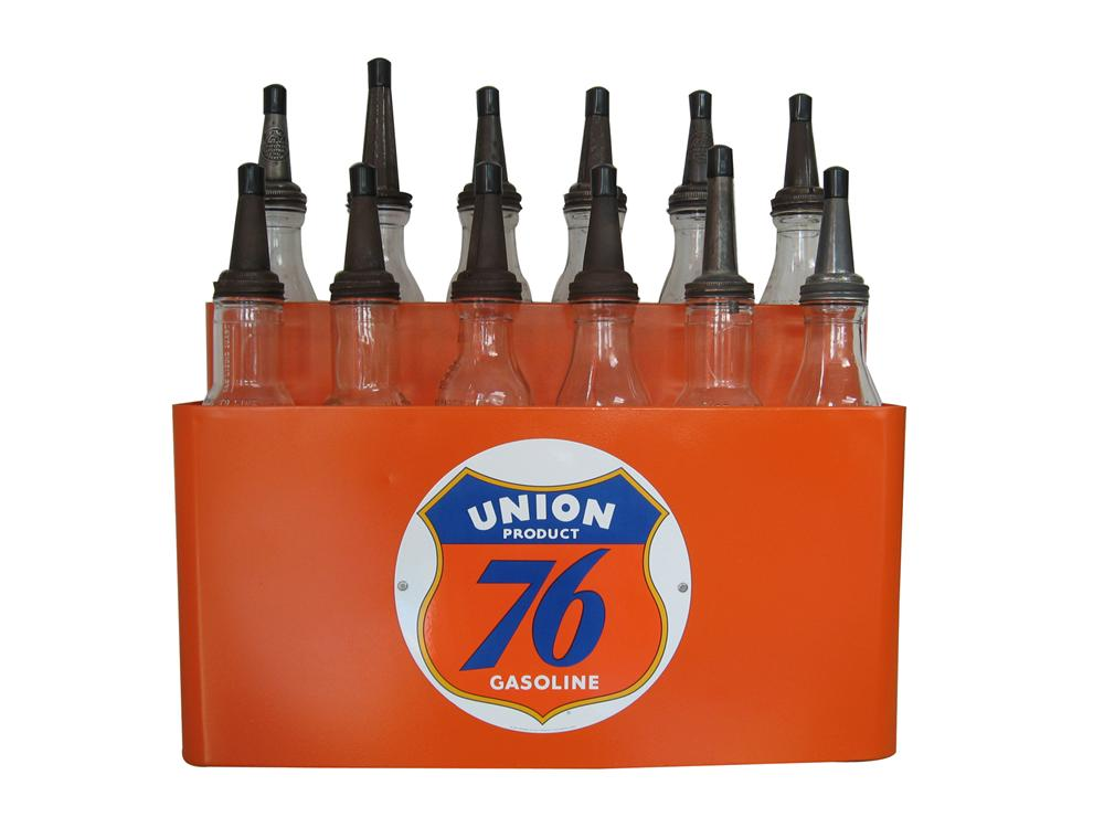 Impressive 1930s-40s Union 76 Motor Oil service station fuel island bottle holder complete with 12 original glass bottles. - Front 3/4 - 79553