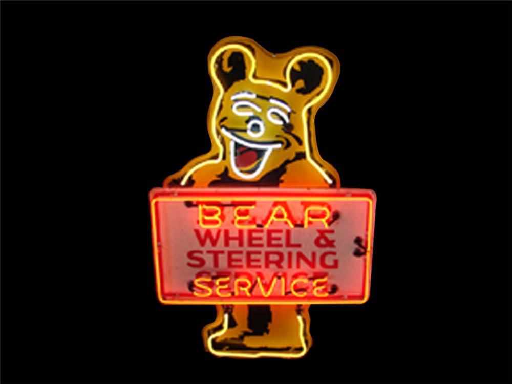 Very cool 1950s Bear Wheel Alignment double-sided neon garage sign. - Front 3/4 - 79561