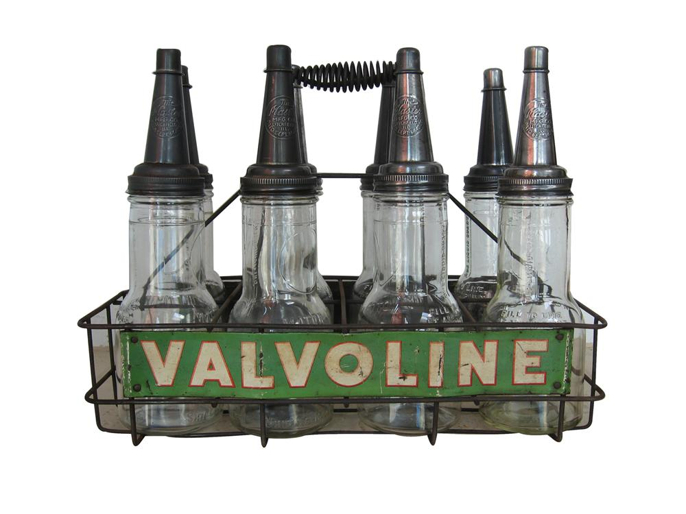 1930s-40s Valvoline Motor Oil eight bottle service island rack complete with original glass oil bottles with caps. - Front 3/4 - 79563