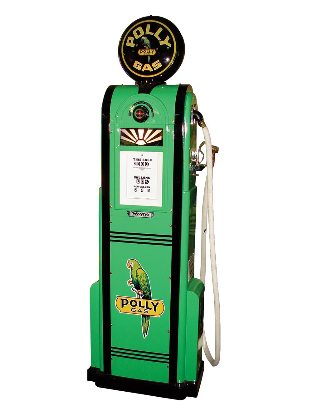 Stunning 1935 Wayne #60 Polly Gasoline filling station pump with art nouveau styling. - Front 3/4 - 79567