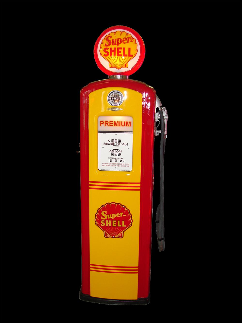 Exquisite late 1940s Shell Oil service station Bennett model #647 gas pump. - Front 3/4 - 79568