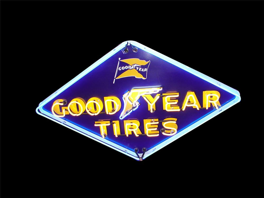Exceptional 1950s Goodyear Tires single-sided porcelain neon garage sign. - Front 3/4 - 79574