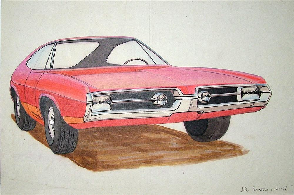 Historically significant original Plymouth styling studio 1964 concept sketch for the 1967 Barracuda. - Front 3/4 - 79575