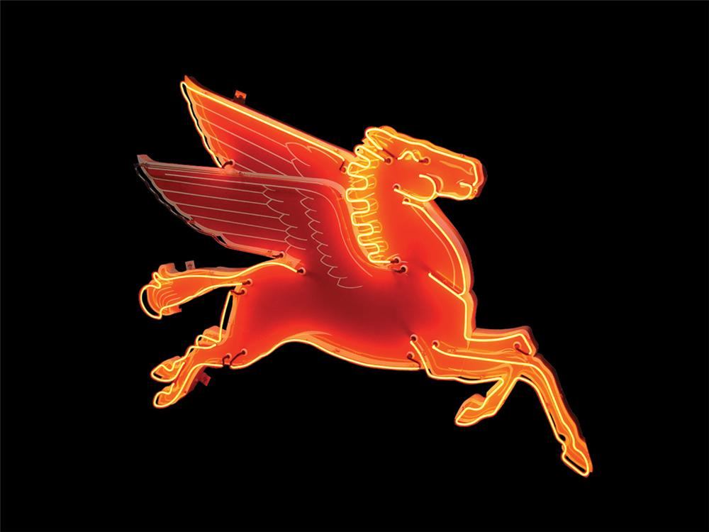 Stellar 1950s Mobil service station neon porcelain Pegasus sign. Wings alternate being lit to simulate flying. - Front 3/4 - 81466