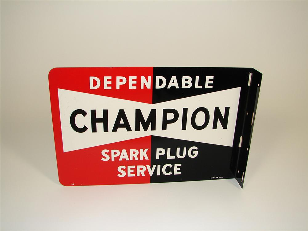 """N.O.S. 1950s Champion Spark Plugs double-sided tin garage flange sign. Condition: 9.25+ Size 12""""x18"""" - Front 3/4 - 81470"""