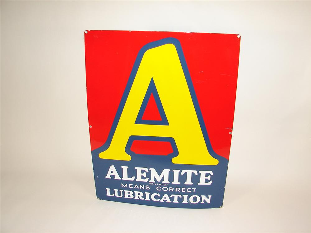"""Outstanding N.O.S. 1938 Alemite """"Correct Lubrication"""" single-sided porcelain garage sign. Found unused. - Front 3/4 - 81480"""