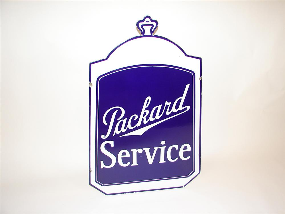Rare 1930s Packard Automobiles double-sided porcelain dealership sign. Great design and in wonderful condition. - Front 3/4 - 81484