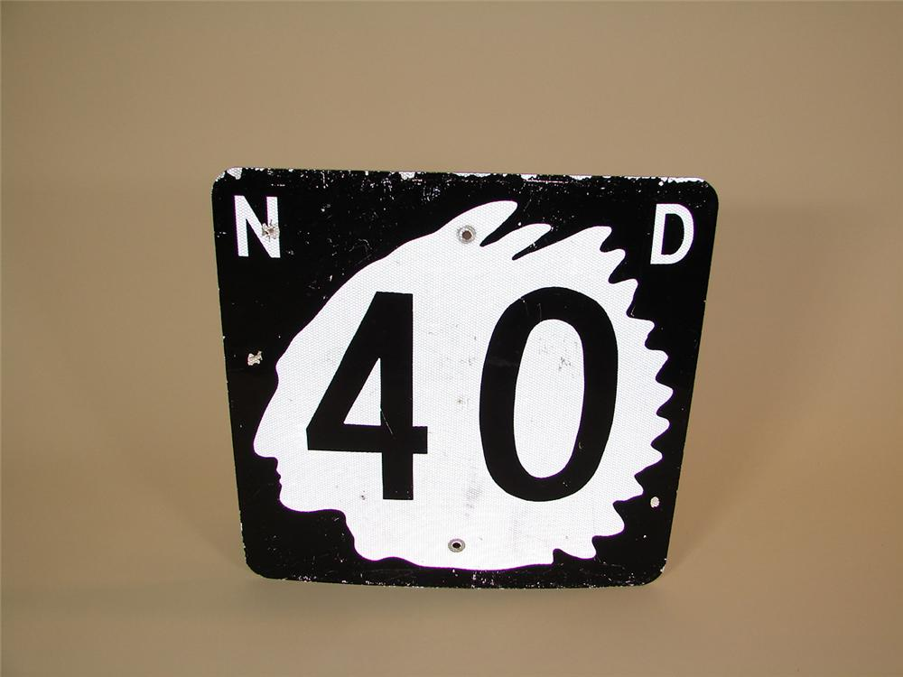 Vintage North Dakota Highway 40 road sign with Native American silhouette. - Front 3/4 - 81489