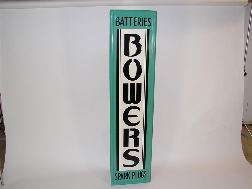 """Sharp 1950s Bowers Batteries-Sparkplugs single-sided self-framed embossed tin garage sign. Condition: 9.0+ Size 16""""x64"""" - Front 3/4 - 81492"""