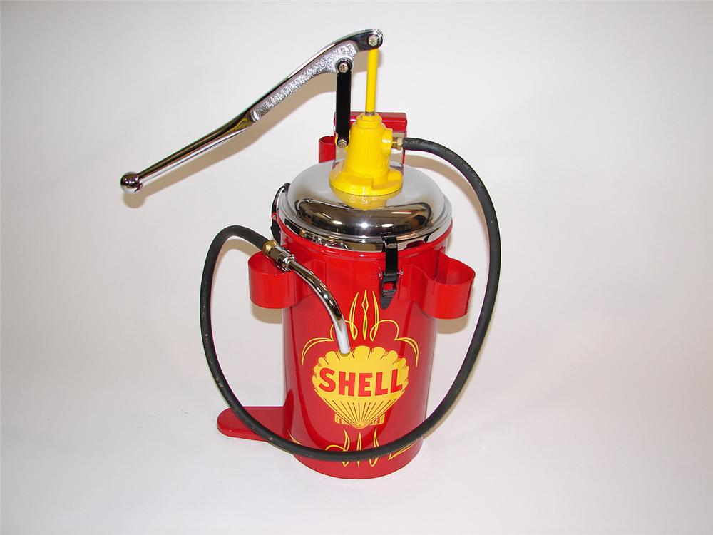 Restored circa 1940s Shell service station Lincoln hand pump greaser with chrome accents. - Front 3/4 - 81495
