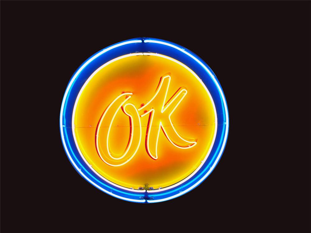 """Large 1950s Chevrolet OK Used Cars single-sided porcelain neon dealership sign. """"OK"""" blinks on and off. - Front 3/4 - 81505"""