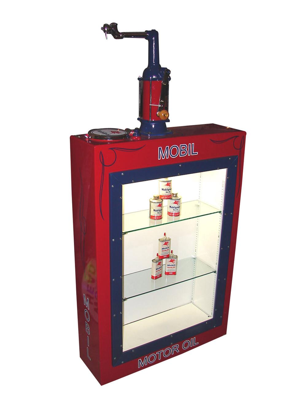 Outstanding Mobil Service station 60 gallon oil lubester cleverly restored into a lite up display case. Includes six origina... - Front 3/4 - 81507