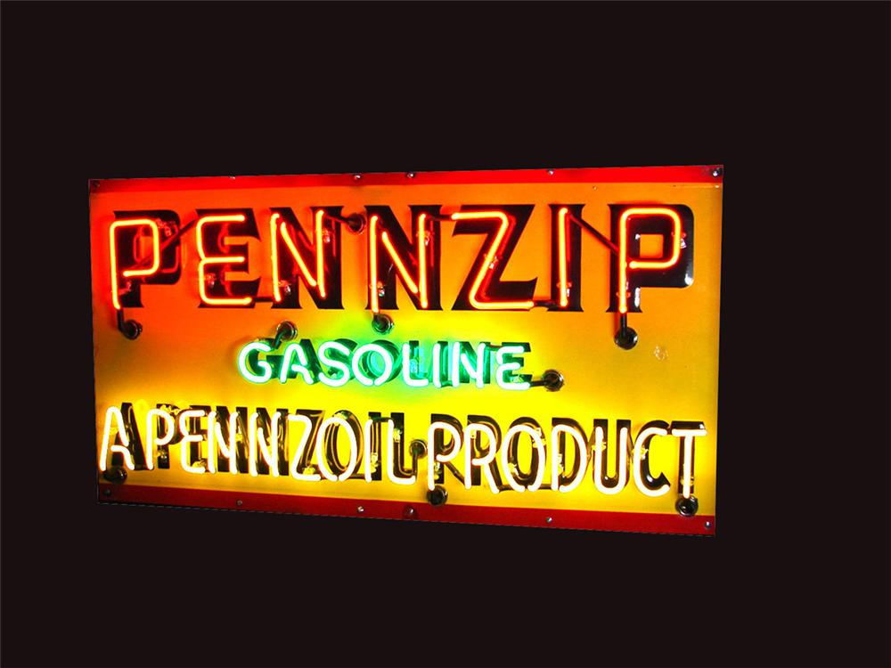 """Unusual 1940s Pennzoil """"Pennzip"""" Gasoline single-sided porcelain neon garage sign with embossed lettering. - Front 3/4 - 81508"""