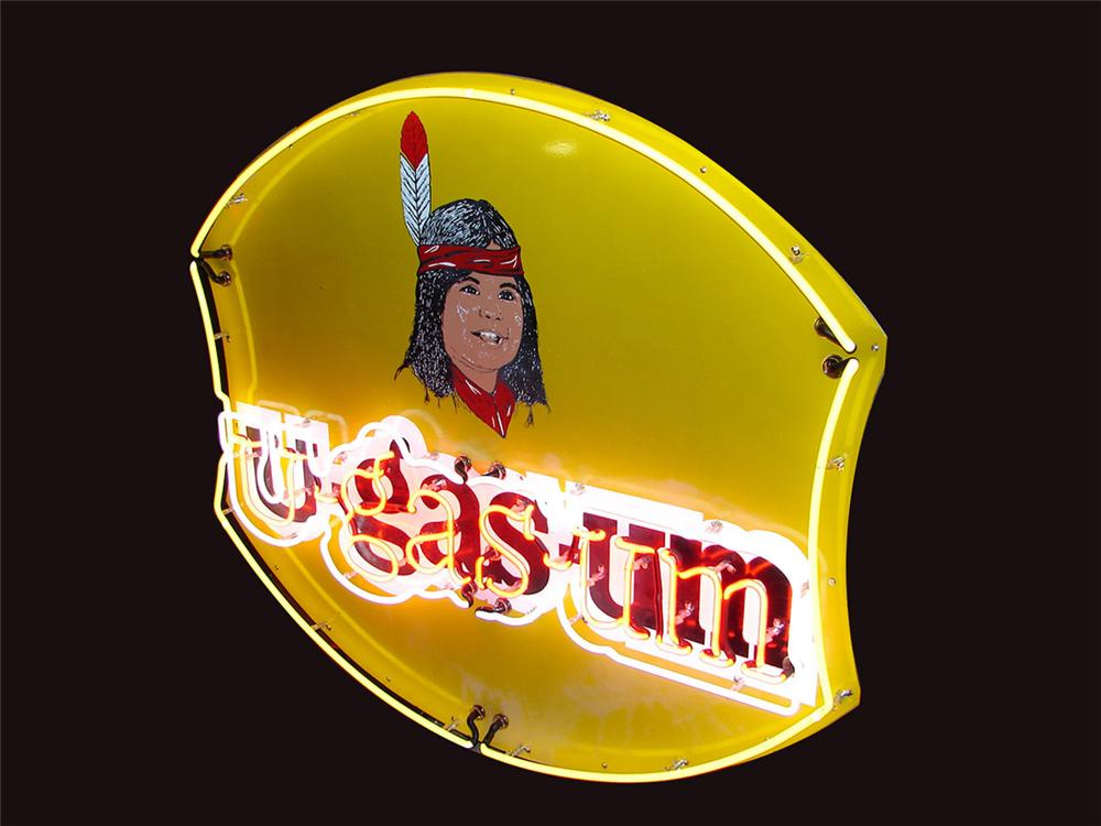 Neat 1950s U-Gas-Um single sided porcelain neon service station sign with native american boy graphic. Immensely clean! - Front 3/4 - 81509