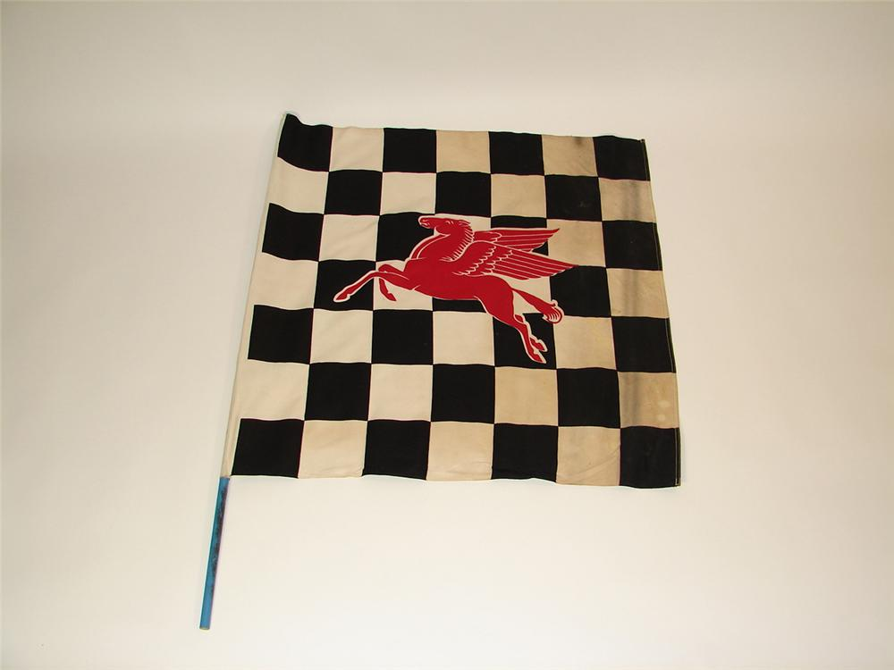 Neat 1940s-50s Mobil Oil race track checkered flag. Exhibits light use. - Front 3/4 - 81522