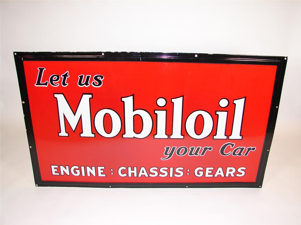"Beautiful N.O.S. 1930s ""Let Us Mobiloil Your Car"" single-sided self-framed porcelain garage sign. - Front 3/4 - 81523"