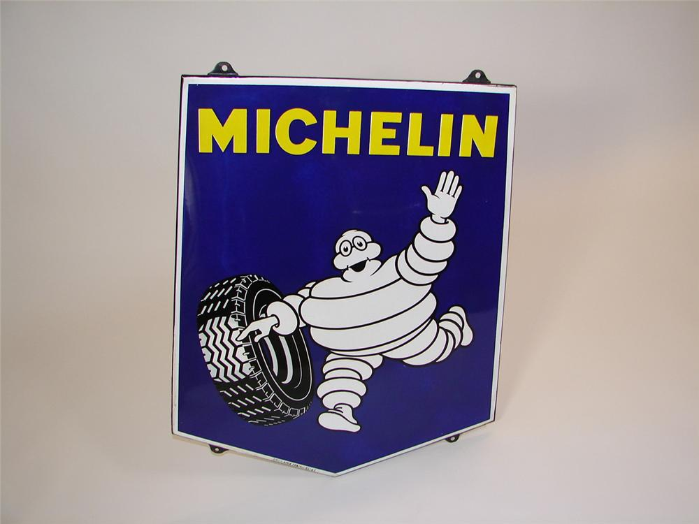 1963 Michelin Tires single-sided porcelain garage sign featuring Bibedum. Interior face is near mint. - Front 3/4 - 81526