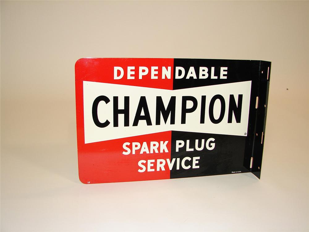 N.O.S. 1950s-60s Champion Spark Plugs double-sided tin garage flange. Found pristine and unused. - Front 3/4 - 81529