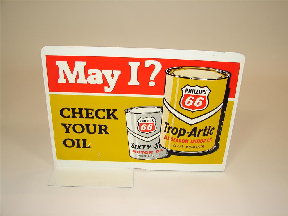 N.O.S. 1960s Phillips 66 service station gas pump double-sided tin marquee sign. - Front 3/4 - 81530