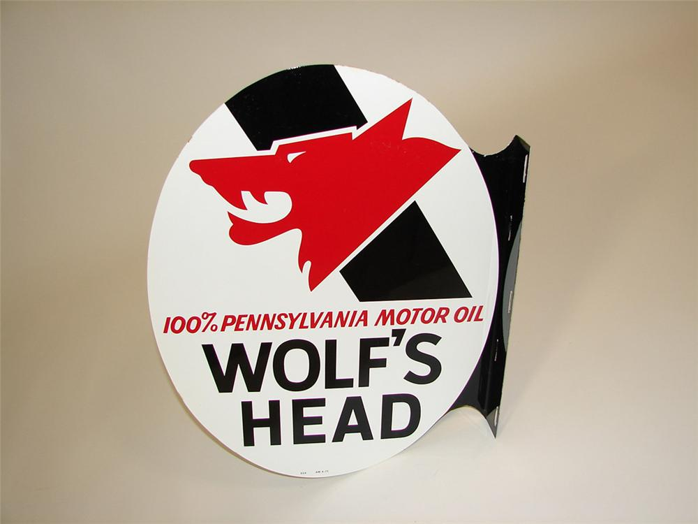 N.O.S. Wolfs Head Motor Oil double-sided tin garage flange sign. Pulled out of the original shipping paper. - Front 3/4 - 81535