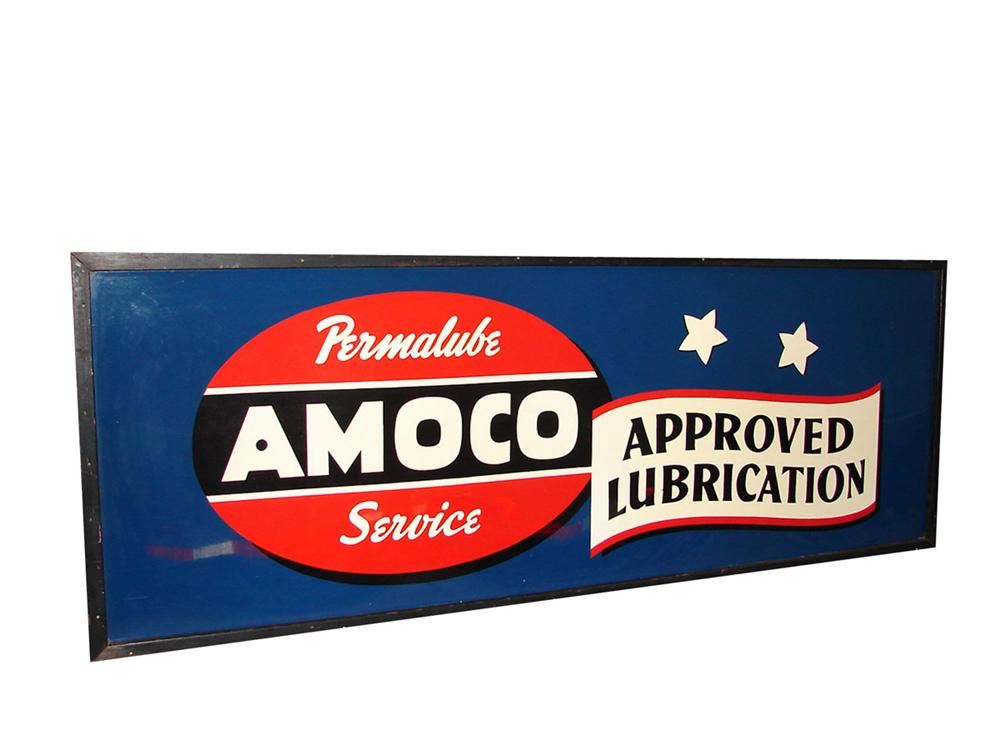 Gorgeous N.O.S. 1930s-40s Amoco Approved Lubrication single-sided wood framed service station sign. Found unused. - Front 3/4 - 81540