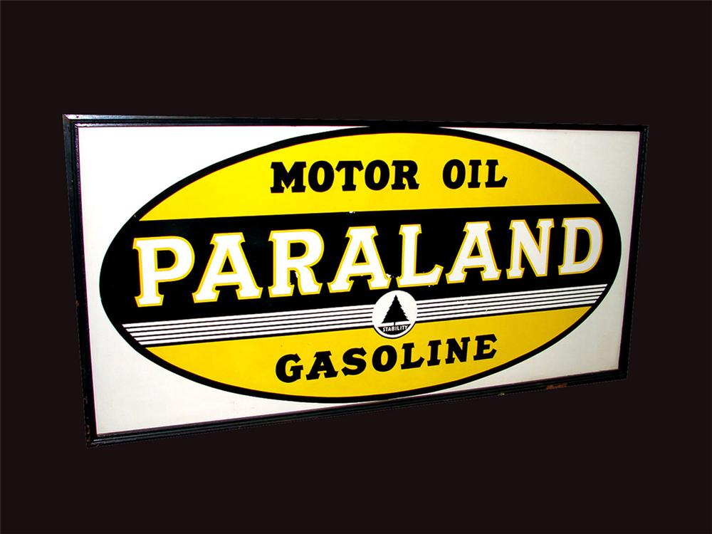 N.O.S. 1930s Paraland Motor Oil - Gasoline single-sided tin filling station sign with wood frame. Unbelievable condition giv... - Front 3/4 - 81541