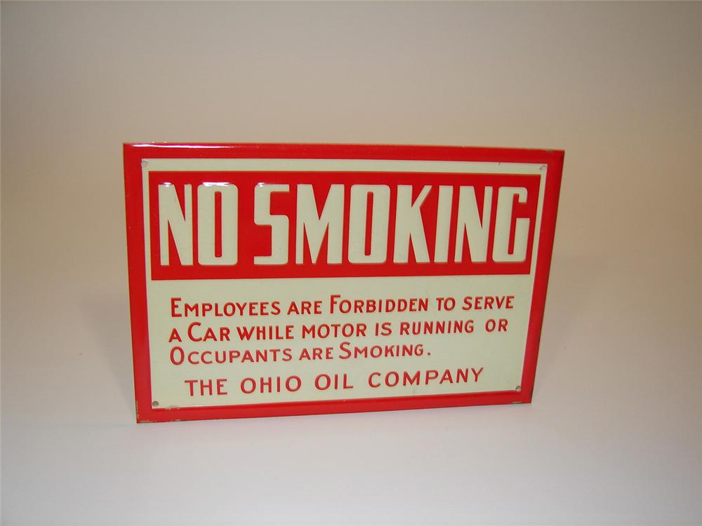 """N.O.S. Ohio Oil Company """"No Smoking"""" service station fuel island tin painted sign. - Front 3/4 - 81543"""