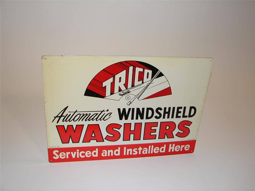 N.O.S. 1950s Trico Windshield Washers single-sided tin garage sign with nice graphics. - Front 3/4 - 81546