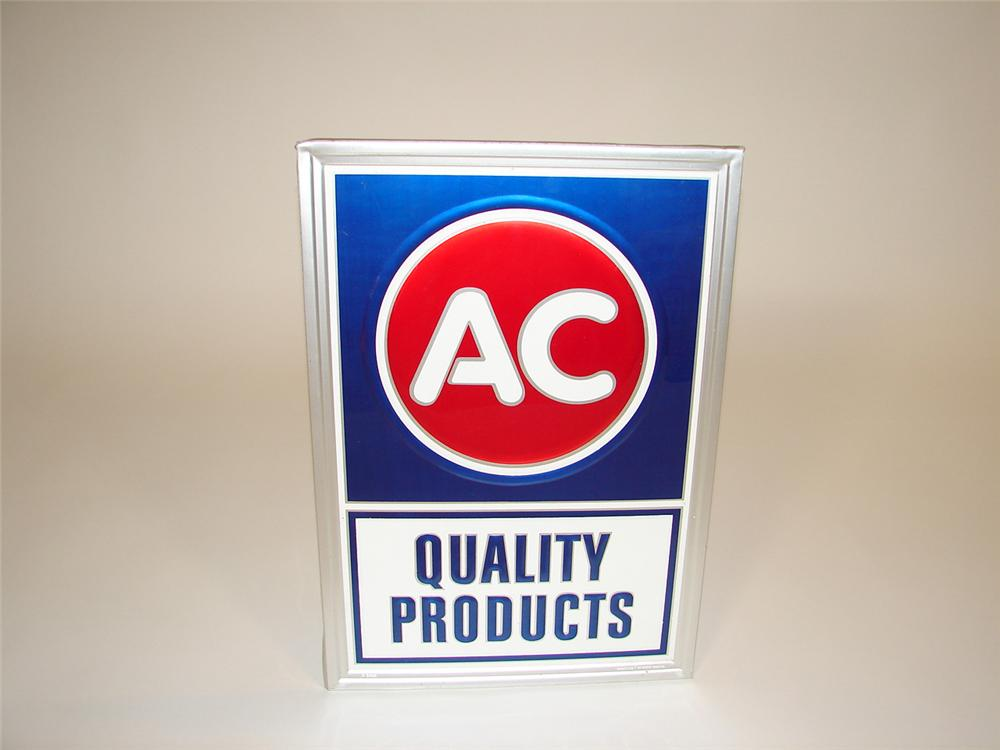 N.O.S. AC Quality Products single-sided tin garage sign. - Front 3/4 - 81646