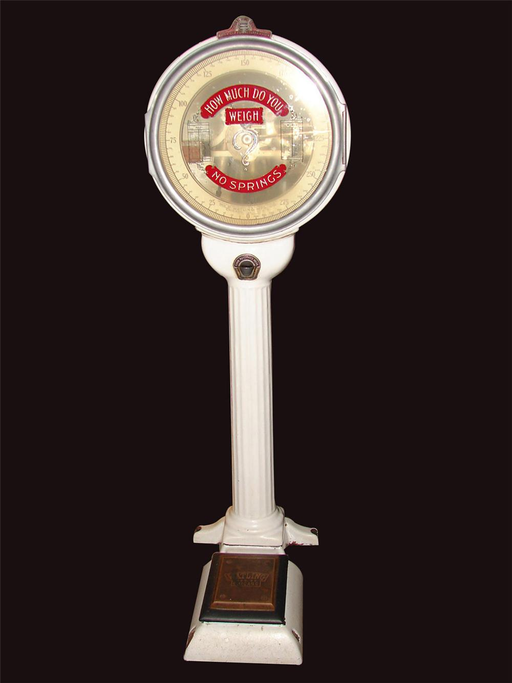 """Gorgeous all original 1915 Watling of Chicago porcelain coated coin-operated """"Lollipop"""" penny scale. - Front 3/4 - 81648"""