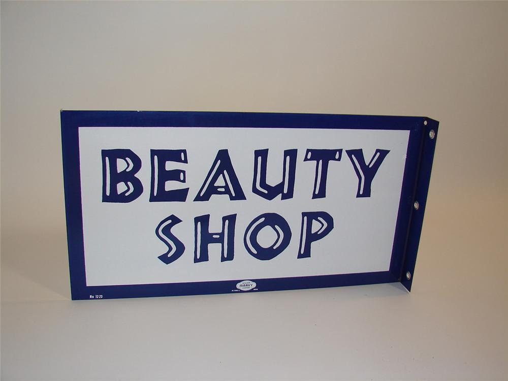 N.O.S. 1950s-60s Beauty Shop double-sided porcelain flange sign. - Front 3/4 - 81655