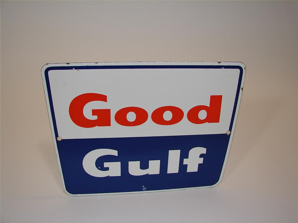 N.O.S. late 50s-Early 60s Good Gulf Gasoline porcelain pump plate sign. - Front 3/4 - 81659