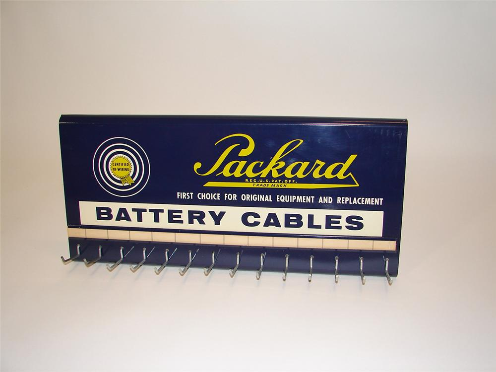 N.O.S. 1950s Packard Battery Cables service department display rack. Found in the original box. - Front 3/4 - 81660