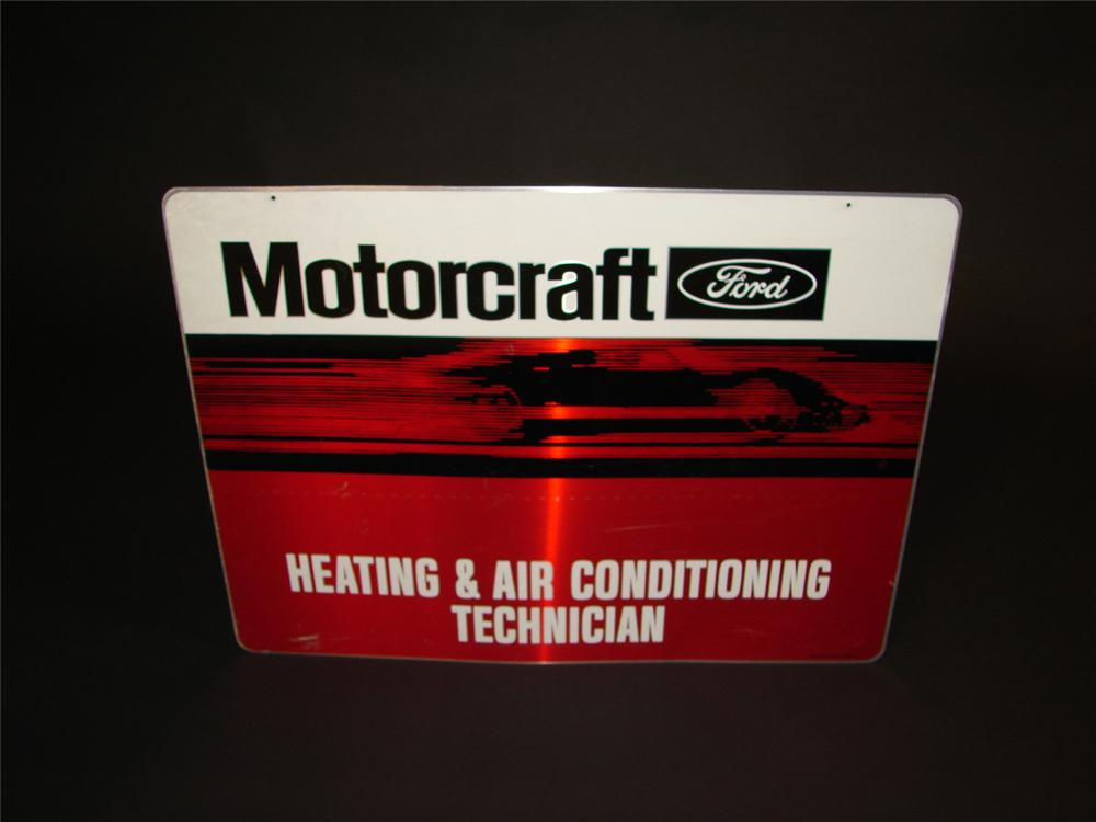 1970s Ford Motorcraft single-sided tin garage sign with GT-40 graphic. - Front 3/4 - 81661