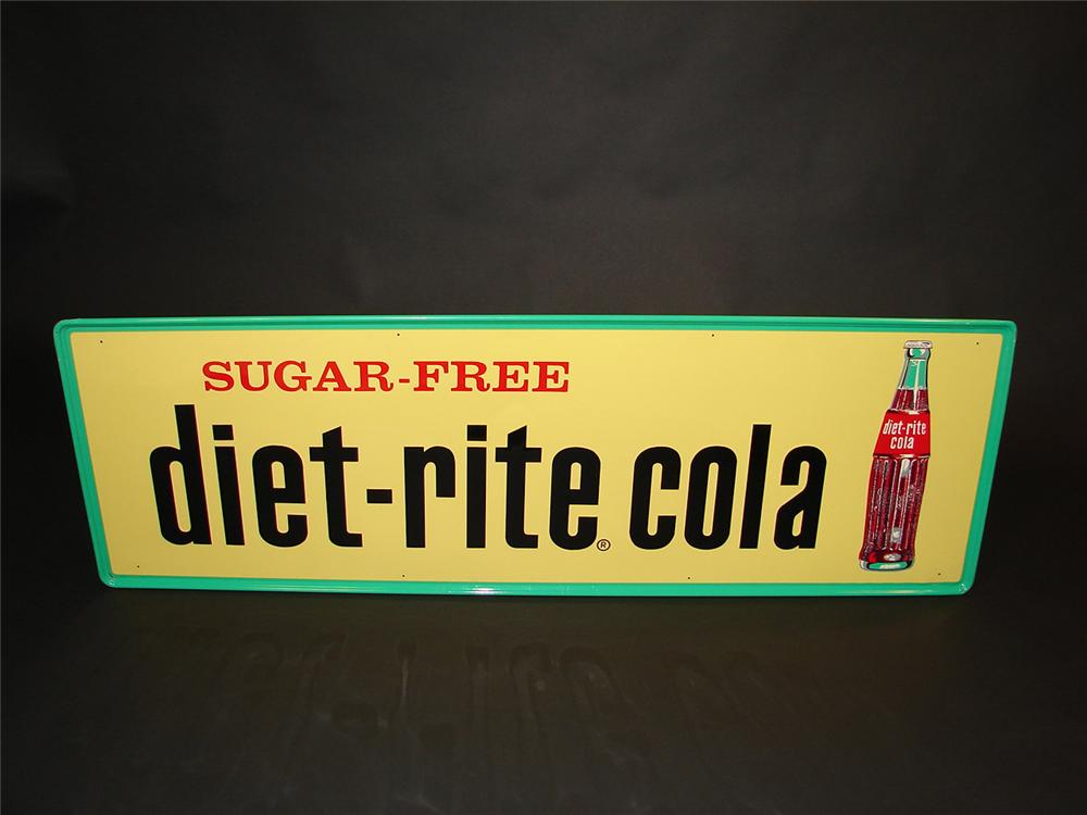N.O.S. 1958 Diet Rite Cola single-sided embossed tin general store sign. - Front 3/4 - 81662