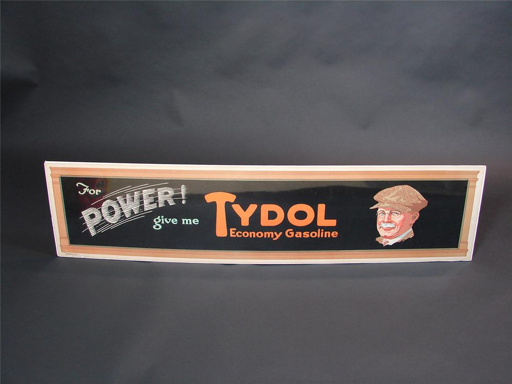 Fabulous N.O.S. 1920s Tydol For Power filling station poster with distinguished gent graphic. - Front 3/4 - 81668
