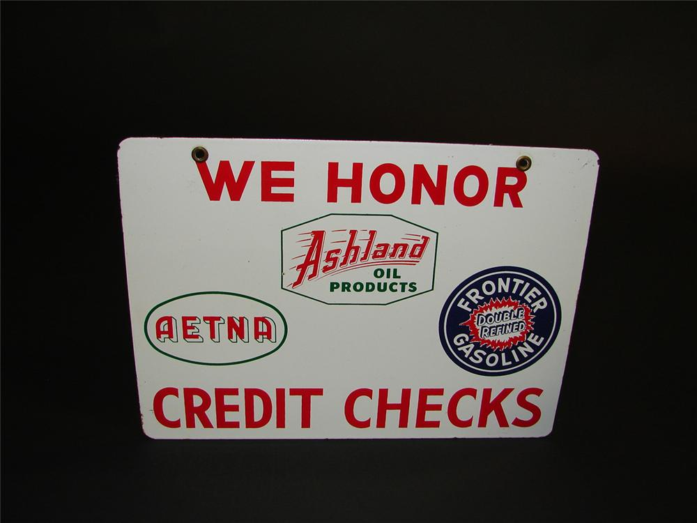 Scarce 1950s Frontier Gasoline-Ashland Products double-sided porcelain service station credit cards sign. - Front 3/4 - 81671