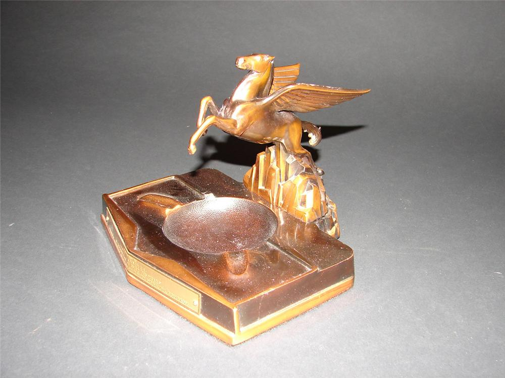 Distinctive 1940s Mobil Oil dealer award bronze ashtray featuring the wonderful Pegasus. Great for display or use. - Front 3/4 - 81679