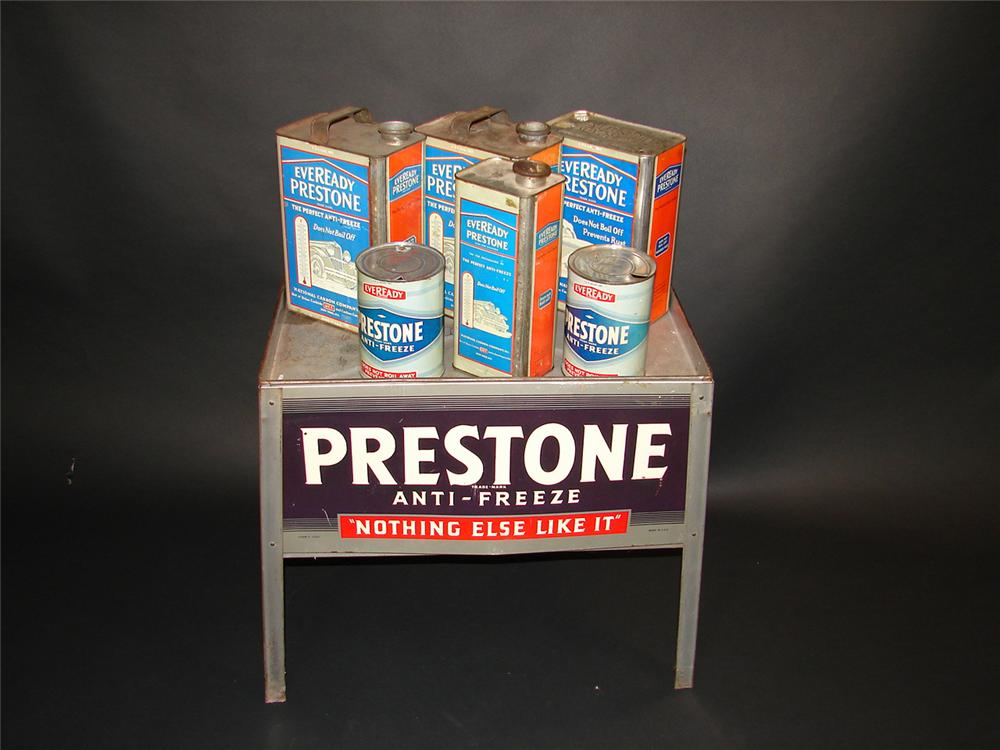 Museum quality 1930s Eveready Prestone Anti-freeze service garage display stand filled with original period tins. - Front 3/4 - 81682