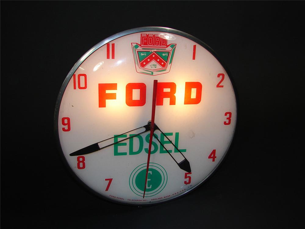 Scarce 1950s Ford Edsel glass faced light-up dealership clock. Extremely hard to find and presents well. - Front 3/4 - 81724
