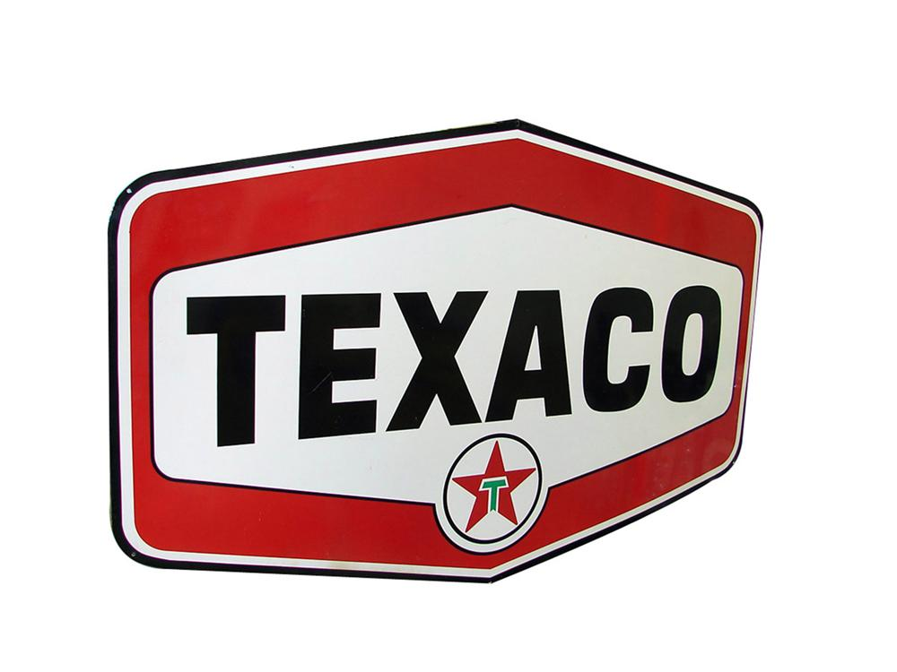 Sharp 1950s 6 Texaco double-sided porcelain service station sign. - Front 3/4 - 82063